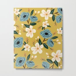 Mustard and Blue Floral Metal Print