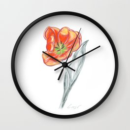 Tulip 02 Botanical Flower Wall Clock