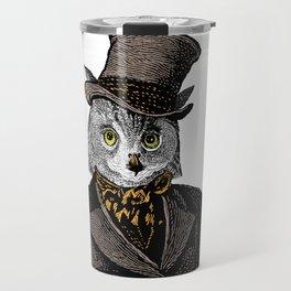 Owl Portrait | 1 of 2 | The Owl and the Pussycat Set | Anthropomorphic Owl | Travel Mug