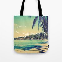 coachella Tote Bags featuring Summer Love Vintage Beach by Directapparelco