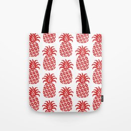 Retro Mid Century Modern Pineapple Pattern Red Tote Bag