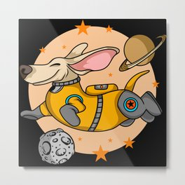 Funny cartoon dog astronaut in space kids gifts Metal Print