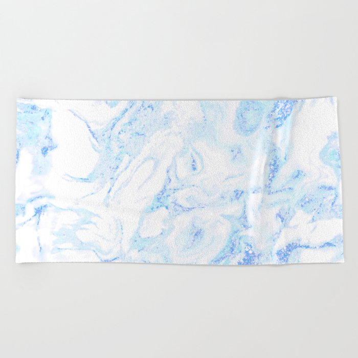 White Marble with Pastel Blue Purple Teal Glitter Beach Towel