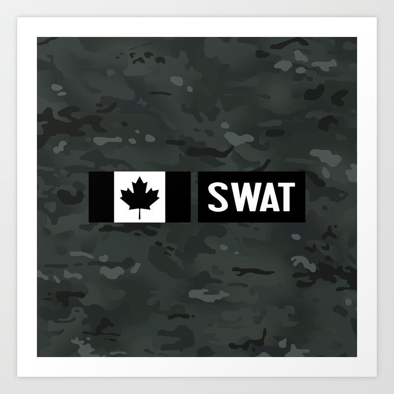 Canadian Swat Black Camouflage Art Print