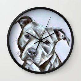 Pit Bull lover, a portrait of a beautiful pit bull puppy Wall Clock