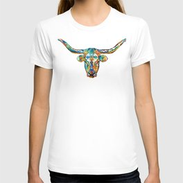 Colorful Longhorn Art By Sharon Cummings T-shirt