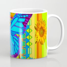 Lime Sunflower Blue Butterfly Floral Coffee Mug