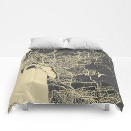 San Diego Map Comforters