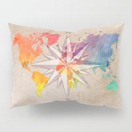world map wind rose 1 #worldmap #map Pillow Sham