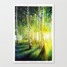Watercolor Birch Tree Forest Canvas Print