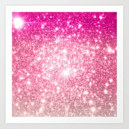 Perfect Pink Ombre Galaxy Sparkle Art Print