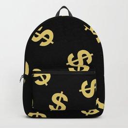 Dollar Signs Black & Gold Backpack