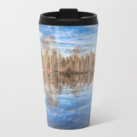 Sky reflection in a spring pond Metal Travel Mug