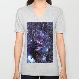 GalAXY : Blue Periwinkle Purple Stars Unisex V-Neck
