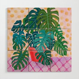 Split Leaf Philodendron Houseplant Painting Wood Wall Art