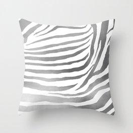 Zebra Pattern In Silver Throw Pillow