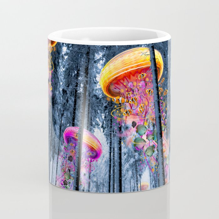 Winter Forest of Electric Jellyfish Worlds Coffee Mug