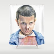 Eleven Stranger Things Watercolor Portrait Shower Curtain