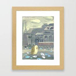 Mrs. Owl looks for Mr. Tern Framed Art Print