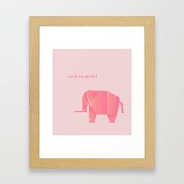 Big, Happy Elephant - Origami Pink Elephant Framed Art Print