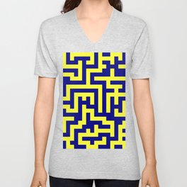 Electric Yellow and Navy Blue Labyrinth Unisex V-Neck