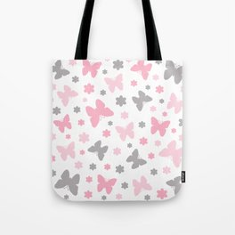 Pink and Grey Butterflies and Flowers Tote Bag