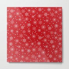 Red & White Snowflakes Pattern Metal Print