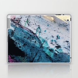 Twilight [2]: a beautiful, abstract watercolor + mixed-media piece in blue, gold, purple, + pink Laptop & iPad Skin