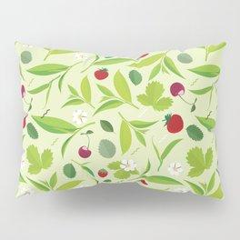 Green tea leaves pattern, lemon, cherry, flat illustration Pillow Sham
