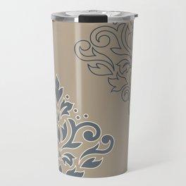 Scroll Damask Art I (outline) Crm Blues Taupe Travel Mug