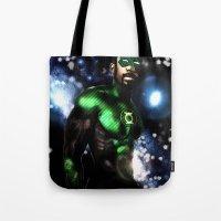 john green Tote Bags featuring John Stewart : The Green Lantern by André Joseph Martin