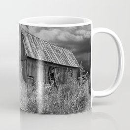 Weathered Wooden Barn with Water Pump and Metal Bucket in Black and White Coffee Mug