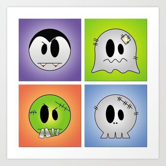 Little Halloween Monsters Art Print