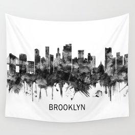 Brooklyn New York Skyline BW Wall Tapestry
