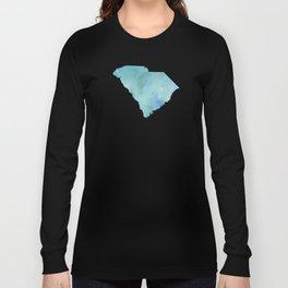 Watercolor State Map - South Carolina SC blue greens Long Sleeve T-shirt