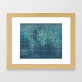 Grunge World Map Framed Art Print