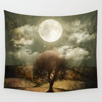 once upon a  time Wall Tapestries featuring Once upon a time... The lone tree. by Viviana Gonzalez