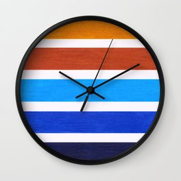 Blue & Brown Geometric Pattern Wall Clock