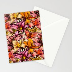 Daylily Drama - a floral illustration pattern Stationery Cards