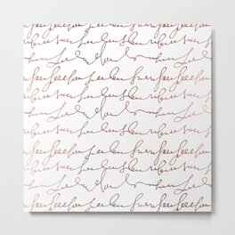 Modern faux rose gold trendy typography Metal Print