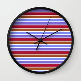 Modern violet red brown geometrical stripes pattern Wall Clock