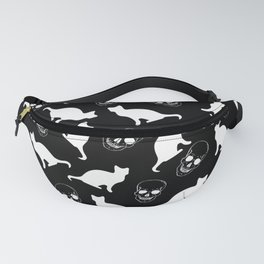 Skulls, Cats, Black and White, Pattern Fanny Pack