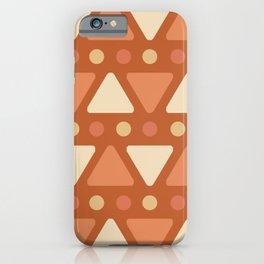 Mid Century Modern Triangles Dots Dark Orange iPhone Case