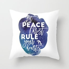 Bible verse watercolor typography blue background Colossians 3:15 Throw Pillow