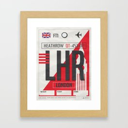Vintage London Heathrow Luggage Tag Poster Framed Art Print