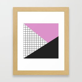 Geometry: black, pink and squres Framed Art Print