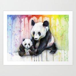 Rainbow Pandas Watercolor Mom and Baby Panda Nursery Art Art Print