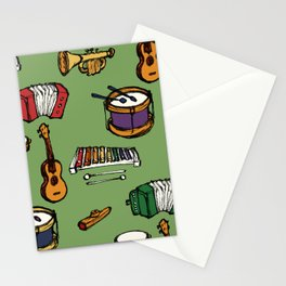 Toy Instruments on Green Stationery Cards