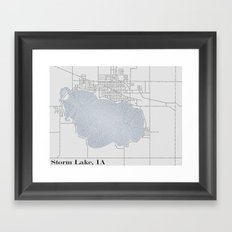 Storm Lake IA Typographical Map Framed Art Print