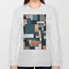 Random Pattern - Copper, Marble, and Blue Concrete Long Sleeve T-shirt